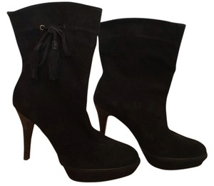 Karen Millen Platform Suede Stiletto Dark Brown Boots