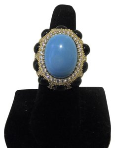 Joan Boyce Joan Boyce Simulated Turquoise Black Stone and Clear CZ Goldtone Ring Size 8