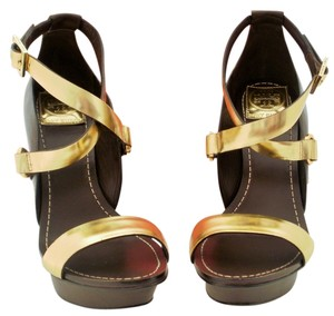 Tory Burch Strappy Gold Brown Gold, Coconut, 712 Platforms