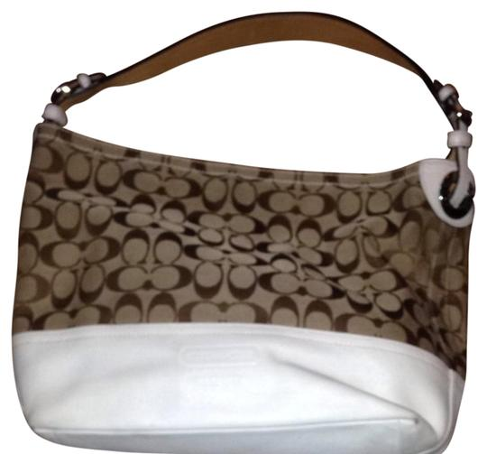 Coach Satchel in Tan With Ivory Bottom And Handle