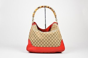 Gucci Red Canvas Bamboo And Leather Gg Monogram Diana Hobo Bag