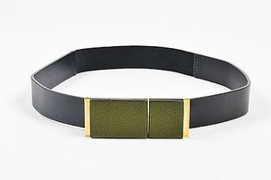 Marni Marni Black Olive Green Leather Gold Tone Elastic Clasp Belt 75
