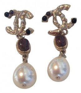 Chanel drop earrings with pearl and stone accents