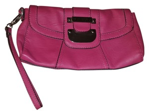Guess Leather Strappy Textured Logo Wristlet in pink