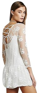 Free People Lace Cream Ivory Drop It Like Its Hot Bohemian Boho Peasant Dress