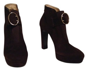 Prada Suede Ankle Bootie Chocolate Boots