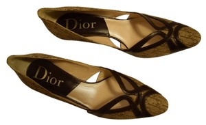 Dior Leather Detail Logo Jacquard Brown/Beige Pumps