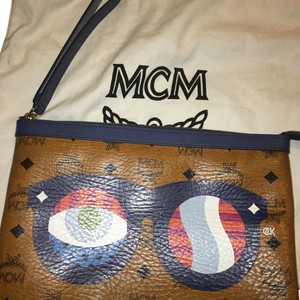 MCM Tan/ Multicolored Clutch