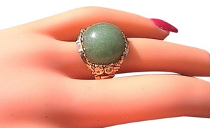 Other 10k Yellow Gold Green Jade Band Ring