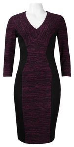 Donna Morgan Marled Knit & Ponte Illusion Sheath Work Dress