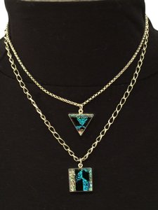 Other Artisan Dichroic Glass Geometric Double-Chain Sterling Silver Necklace