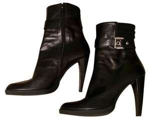 Stuart Weitzman Leather Side Zipper Black Boots