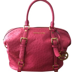 Michael Kors Leather Pink Bedford Satchel in Raspberry