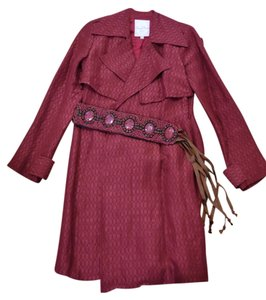 Tracy Reese Silk Beaded Trench Coat