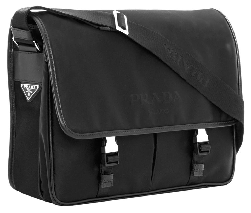 prada nylon leather messenger bag
