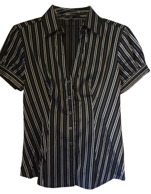 Express Professional Business Button Down Shirt Black with Silver Stripes