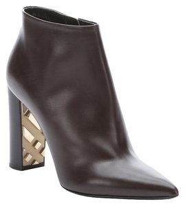 "Burberry Pointed Toe Side Zip Closure Leather Lining Leather Sole 4"" Stacked Heel With Check Embossed Detail All Measurements Are Dark Brown Boots"