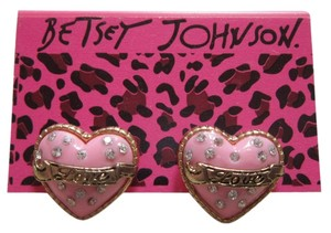 Betsey Johnson Betsey Johnson Pink Crystal Love Dollhouse Heart Stud Earrings