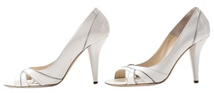 Jimmy Choo Patent Leather Classic Open Toe Spring White Pumps
