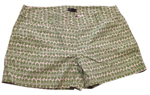 J.Crew City Fit Dress Shorts Green and White Print