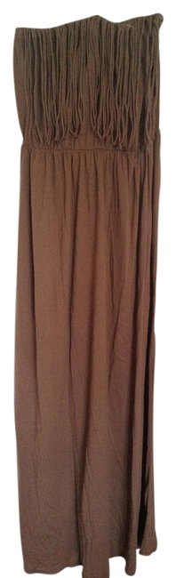 tan Maxi Dress by Bobi Los Angeles Maxi Maxi Fringe Bronze Beige
