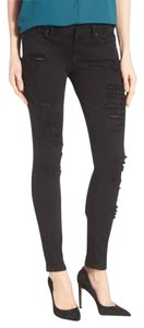 Lucky Brand Edgy Sexy Distressed Vintage Classic Skinny Jeans-Dark Rinse