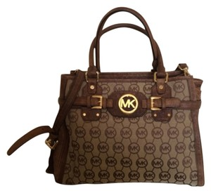 Michael Kors Monogram Ostrich Leather Tote in Brown, Khaki, Gold