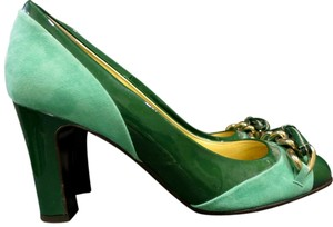 J.Crew Gayle Size 7 Green/Teal Patent Leather & Suede Pumps