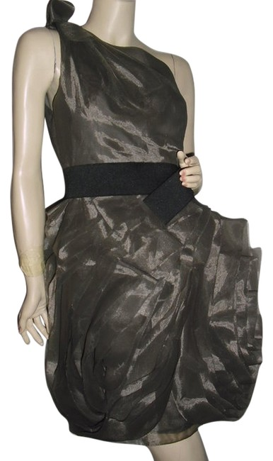 Item - Gray W Swirling Frayed Organza Silver @ Fashionista Style Boutique Knee Length Cocktail Dress Size 4 (S)