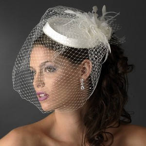 Elegance By Carbonneau Ivory Beaded Wedding Hat With Birdcage Veil