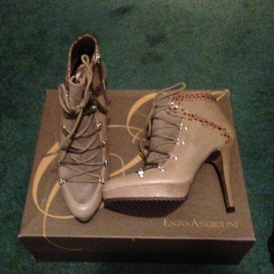 Enzo Angiolini Dendro Suede Heels Leather Tan Boots