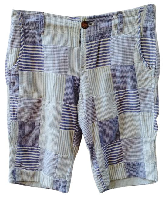 American Eagle Outfitters Ae Beachy Patchwork Bermuda Shorts Blue, White