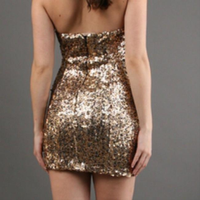 Naven Gold Sweetheart Sweetheart Tiger Sequin Dress