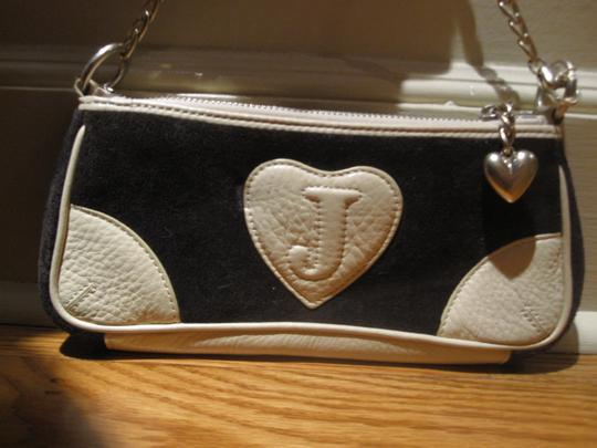 Juicy Couture Handbag Designer Vintage Velour Soft Leather Metallic Heart Shoulder Bag