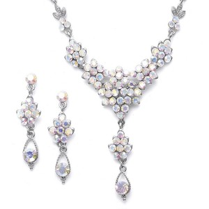 Mariell Ab Crystal Cluster Necklace with Drop Jewelry Set
