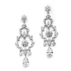 Mariell Breathtaking Cz Chandelier Wedding Earrings