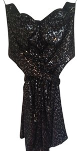 ISSA London Sweetheart Sequins Tie Cinched Waist Cinched Dress