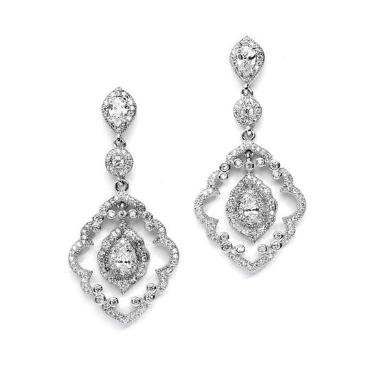 Mariell Art Deco Cz Pave Wedding Earrings