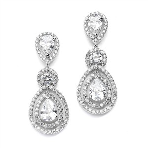 Mariell Silver Cz Statement with Frames Pears Earrings