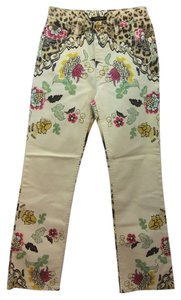 Roberto Cavalli Yellow Floral Straight Pants