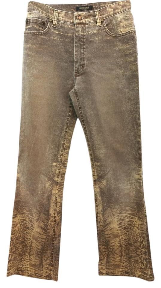 64d027a719 Roberto Cavalli Jeans Cotton Stretchy Straight Pants BROWM ...