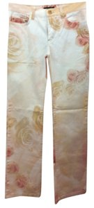 Roberto Cavalli Peach Floral Stretchy Jeans Small Straight Pants