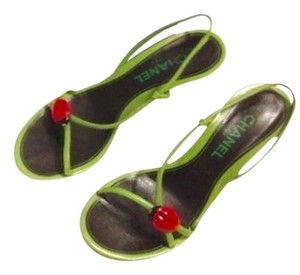 Chanel Leather Wood Green w/ Red / black Lady Bug Sandals