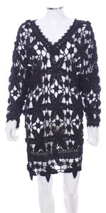 London Couture short dress Black Crochet Sequined Cotton on Tradesy