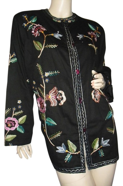 Item - Lifestyles Chain Embroidery All Jacket Large Size @ Fashionista Style Boutique Black Pink Green Sweater