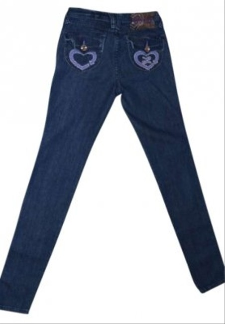Luxirie by LRG Skinnie Low-rise Size 1 (25) Stretchy Denim Super Cute With Rhinestones Pocket Dark Denim Color Excellent Condition Skinny Jeans-Dark Rinse