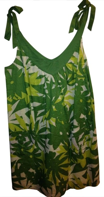 American Eagle Outfitters Green/Yellow/White Shoulder Tie Sundress Mini Short Casual Dress Size 4 (S) American Eagle Outfitters Green/Yellow/White Shoulder Tie Sundress Mini Short Casual Dress Size 4 (S) Image 1