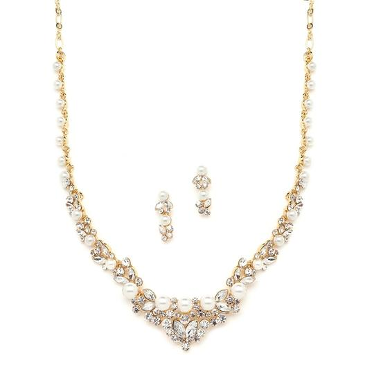 Mariell Gold Wedding Jewelry With Pearls And Crystals