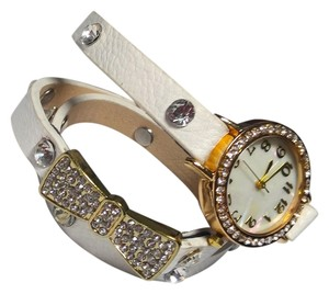 Other New White Wrap Around Watch Gold Tone Crystals J1974