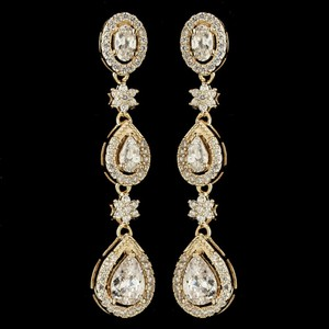 Elegance By Carbonneau Gold Plated Cz Dangle Wedding Earrings